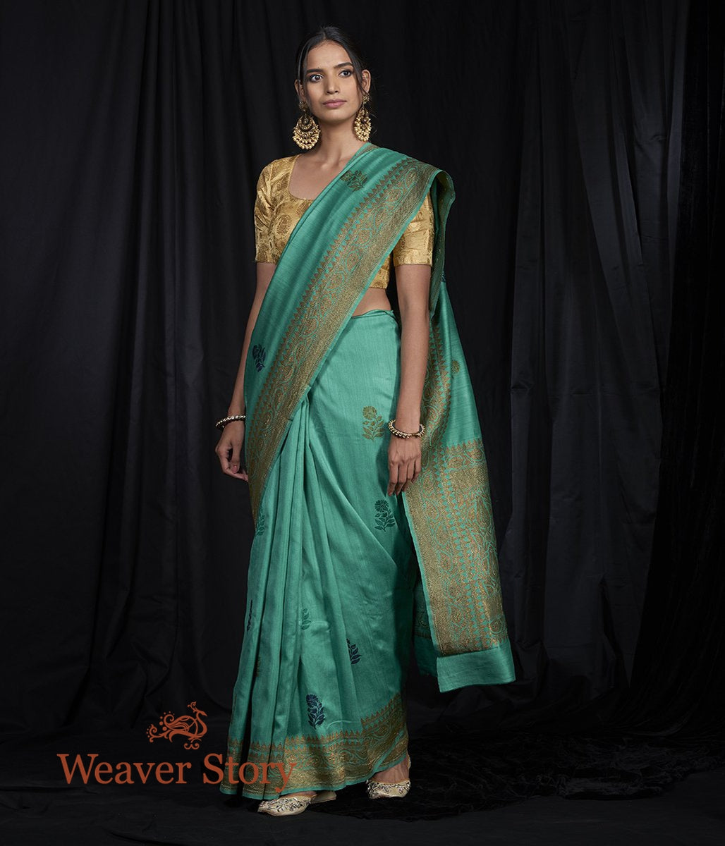 Handwoven Munga Silk Saree with Blue and Green Flowers