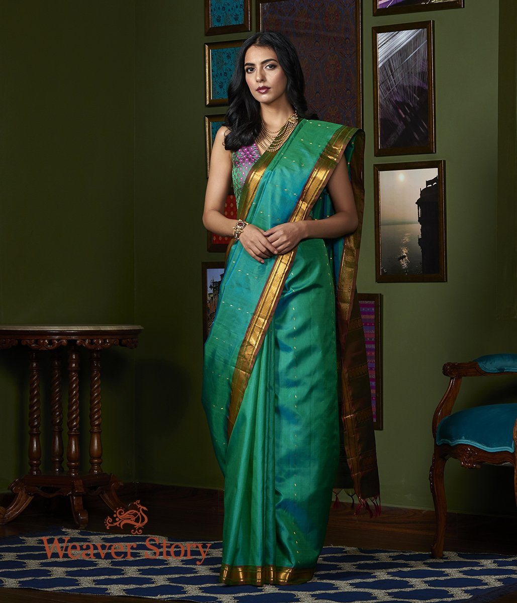 Handwoven Teal Green Kanjivaram Saree with Mahroon and Gold Zari Border