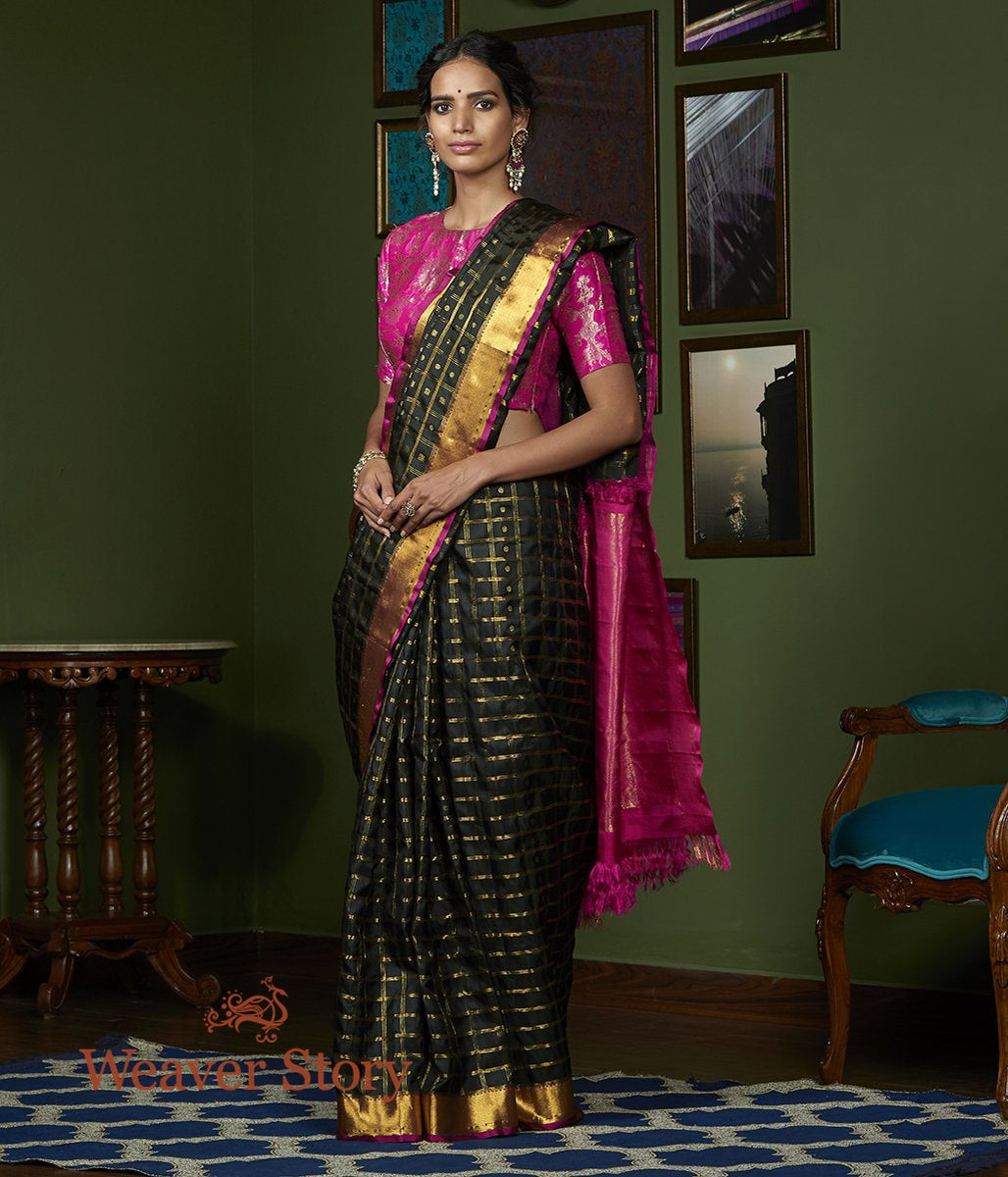 Handwoven Black Kanjivaram Silk Saree with Checks