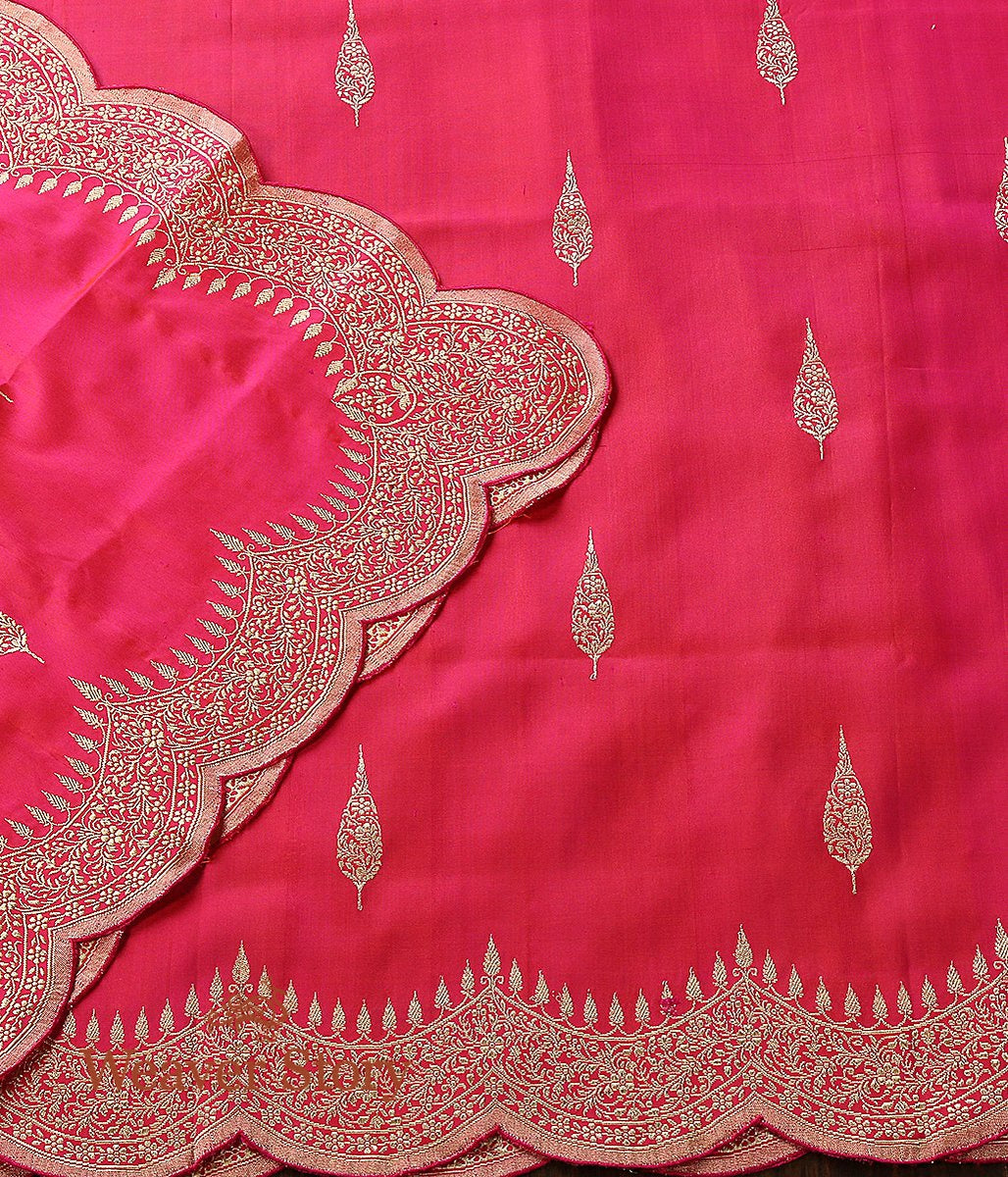 Handwoven Pink Banarasi Dupatta with Scalloped Borders