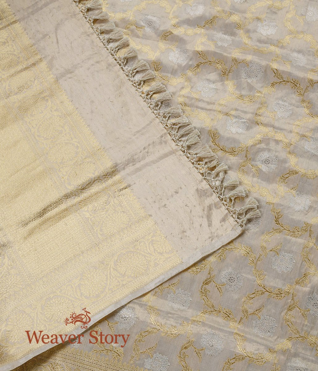Handwoven Offwhite and Gold Silk Tissue Jangla Dupatta