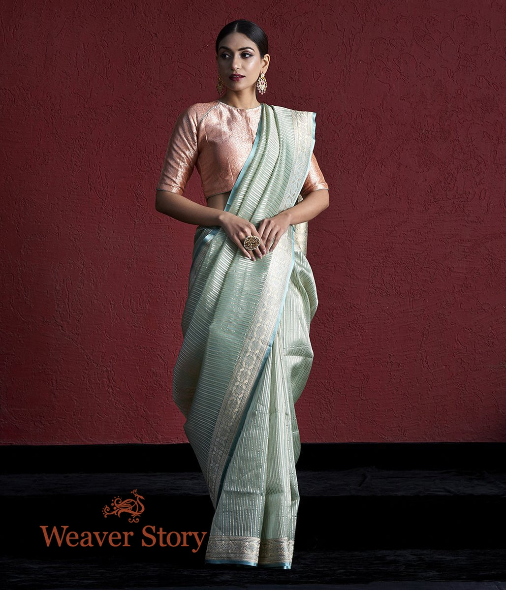 Handwoven Light Blue Kora Silk Saree with Zari Stripes