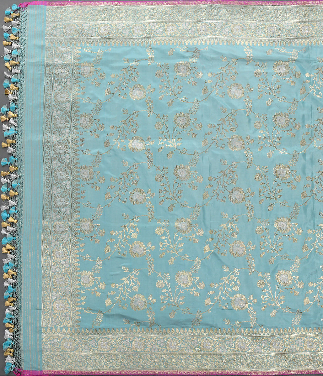 Handwoven Light Blue Kadhwa Jangla Dupatta with Sona Rupa Zari
