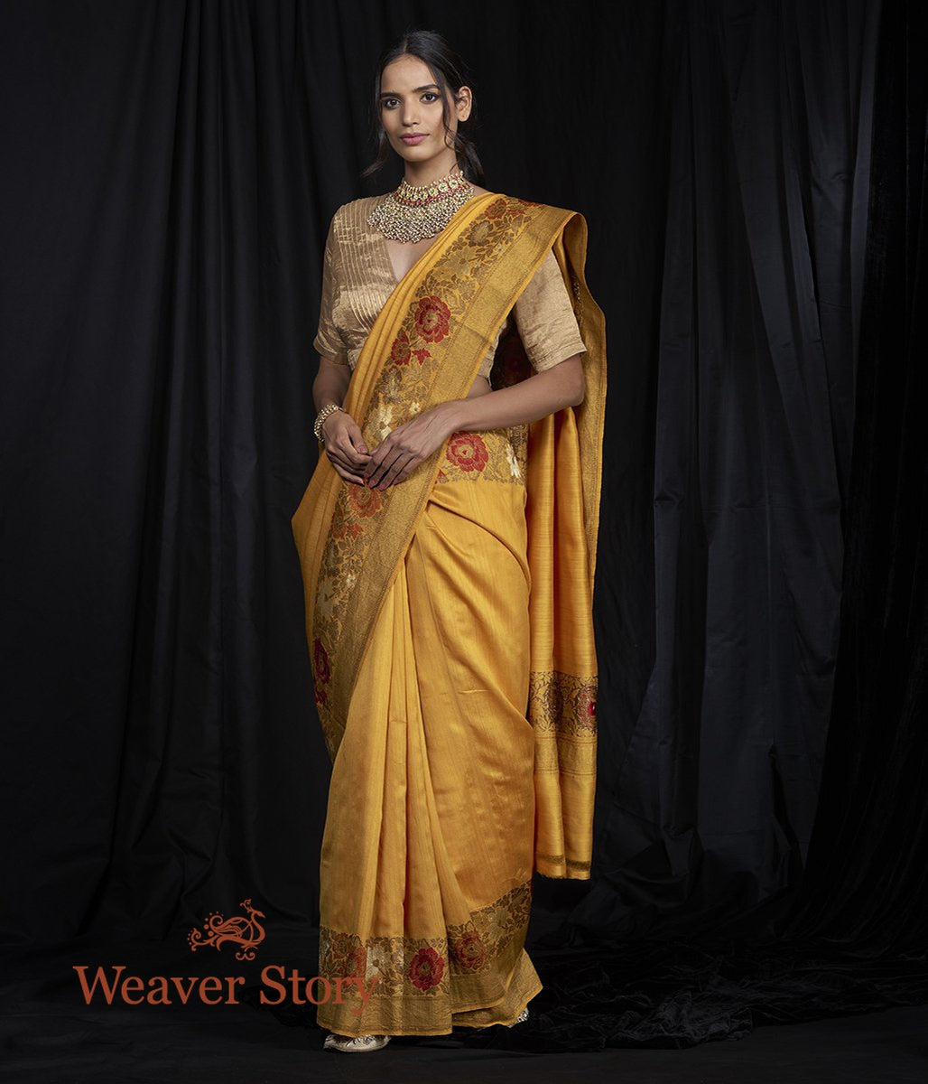 Handwoven Munga Saree with Meenakari Floral Border