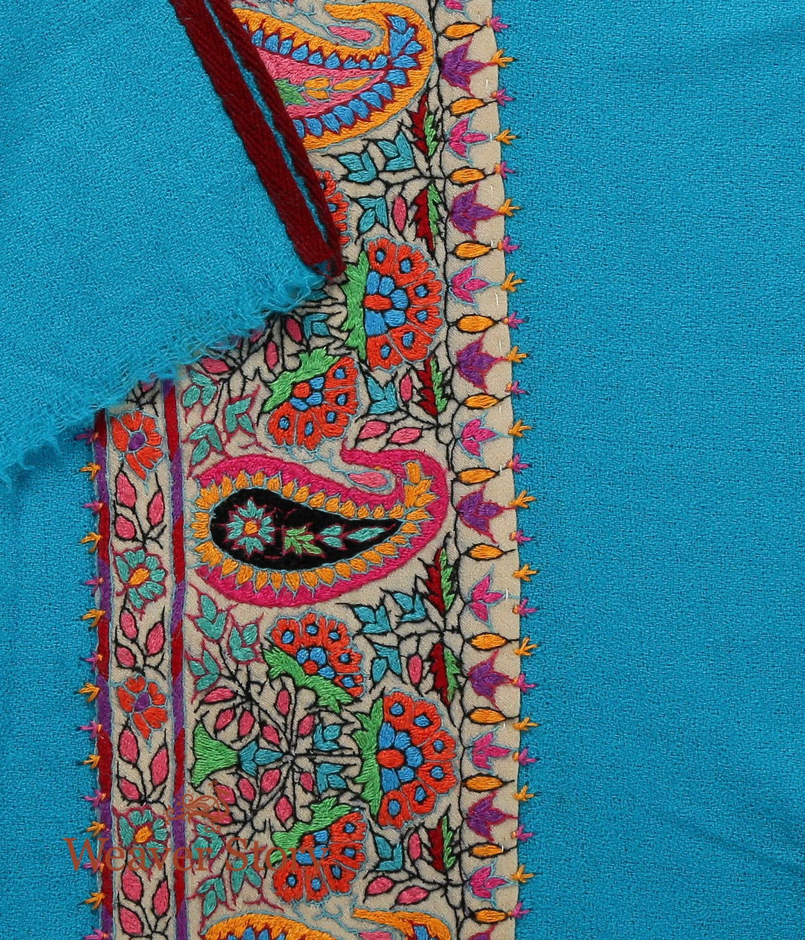 Turquoise Blue Pashmina Muffler with Sozni Border