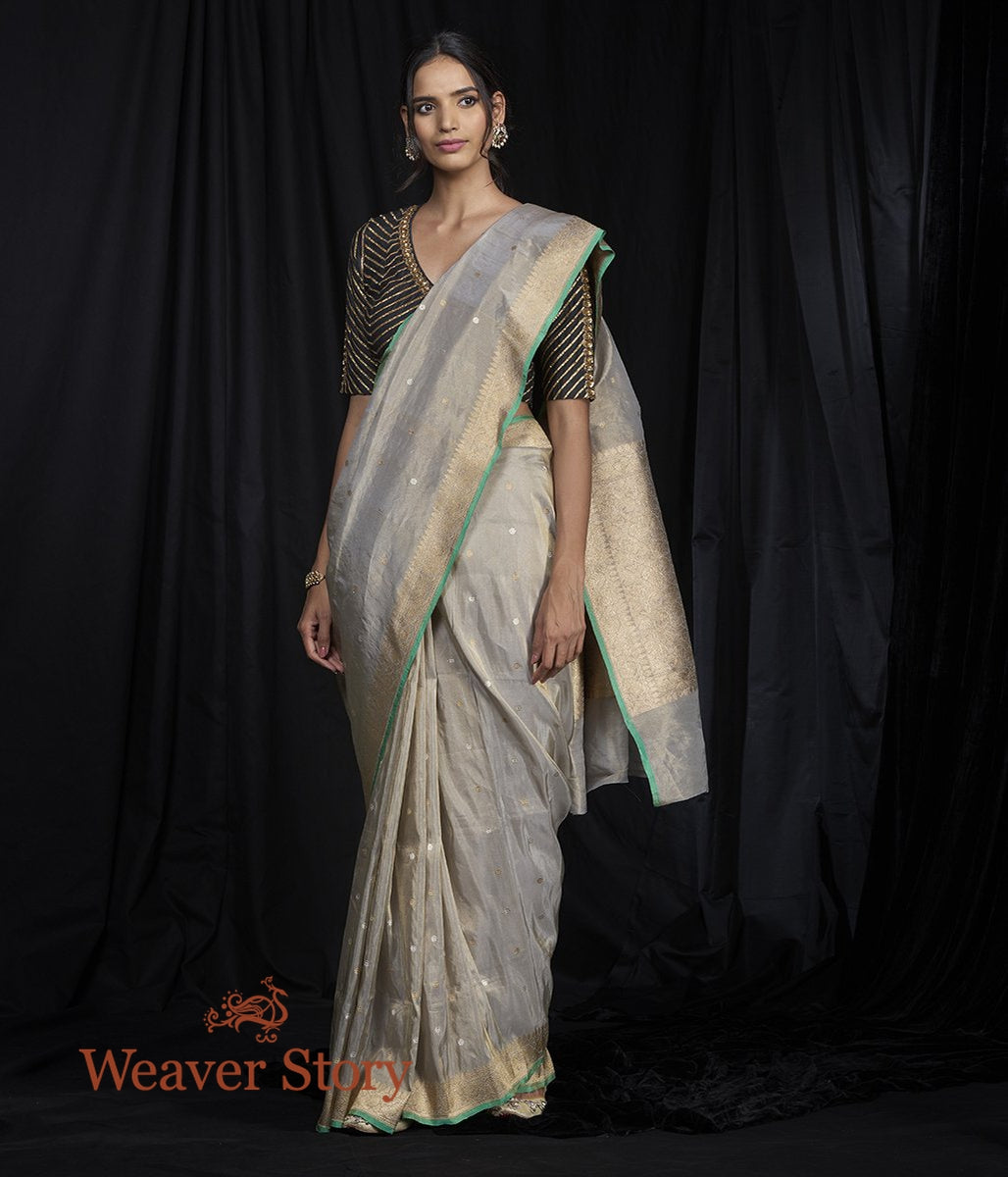 Handwoven Grey Silk Tissue Saree with Small Dots