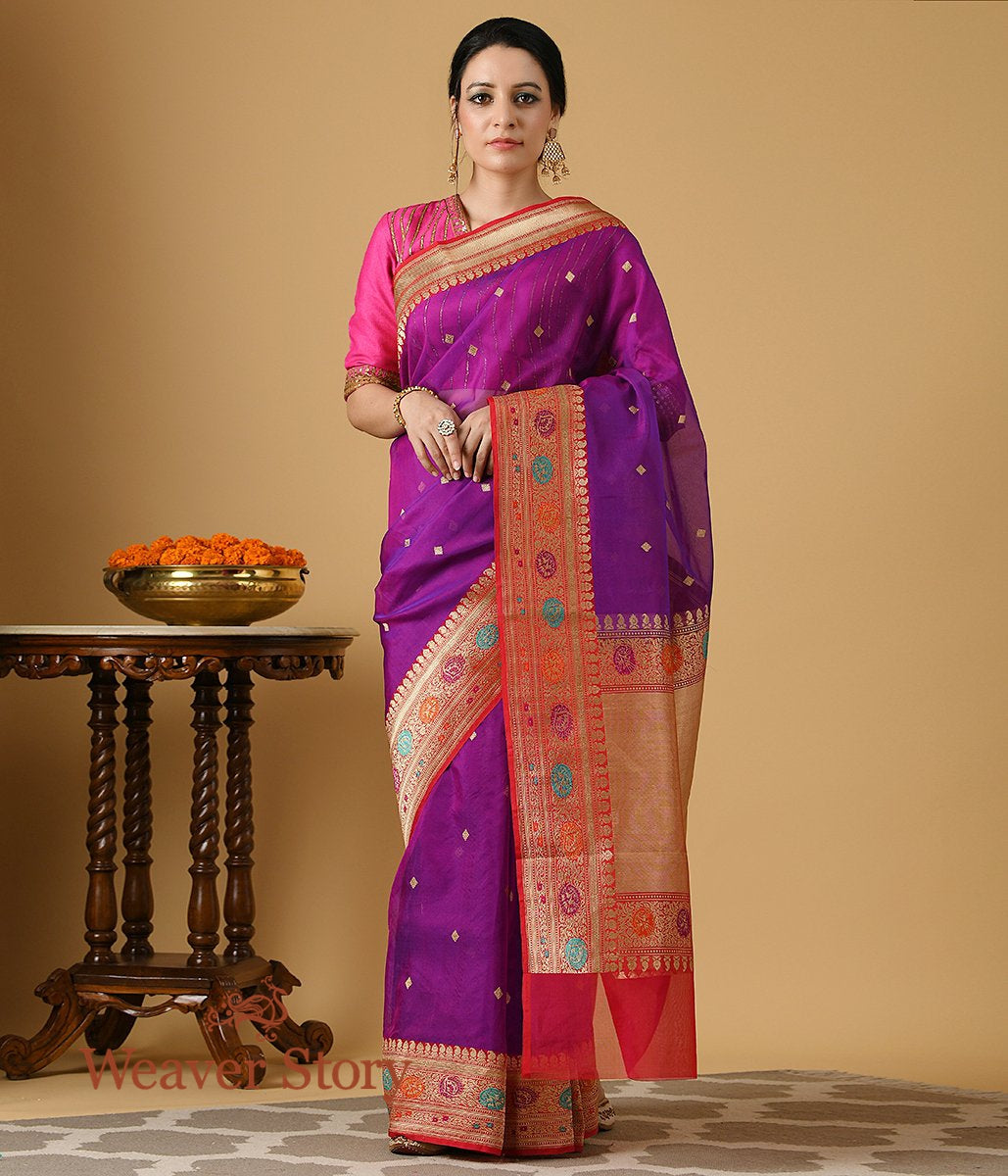 Handwoven Purple and Red Meenakari Border Organza Saree