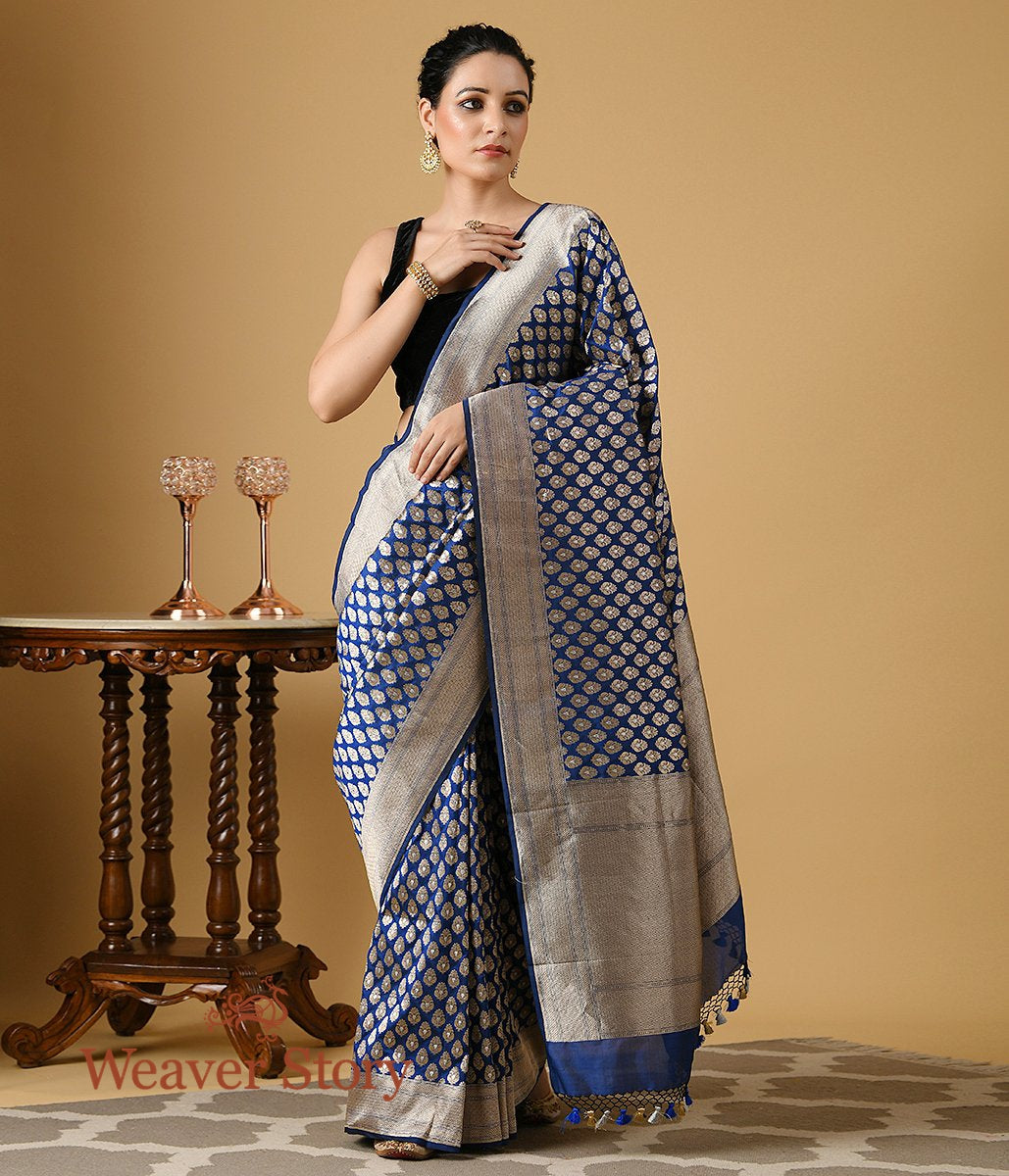 Handwoven Midnight Blue Katan Silk Saree with Gold Zari Motifs
