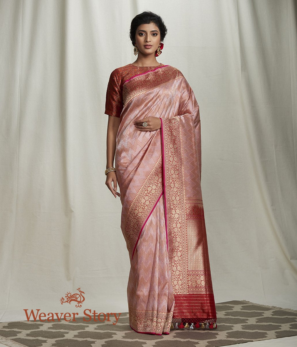 Handwoven Red and Gold Zari Kimkhab Saree with Kadhwa Border