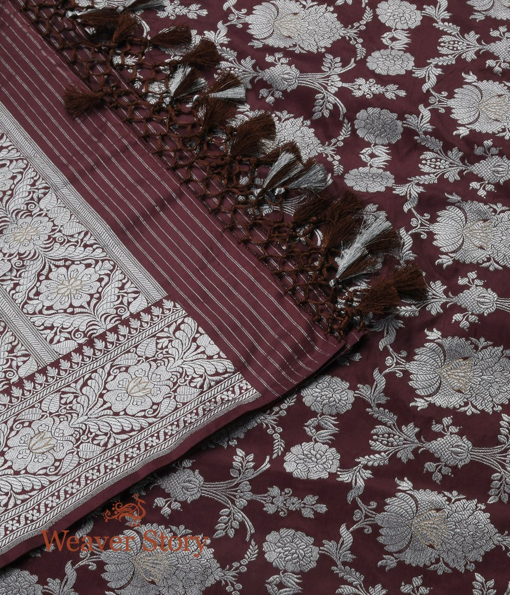 Handwoven Brown Kadhwa Jangla Dupatta with Silver Zari