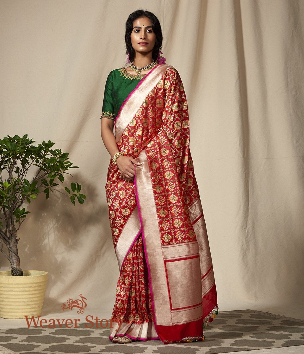 Handwoven Red Meenakari Banarasi Patola Saree with Pink Selvedge