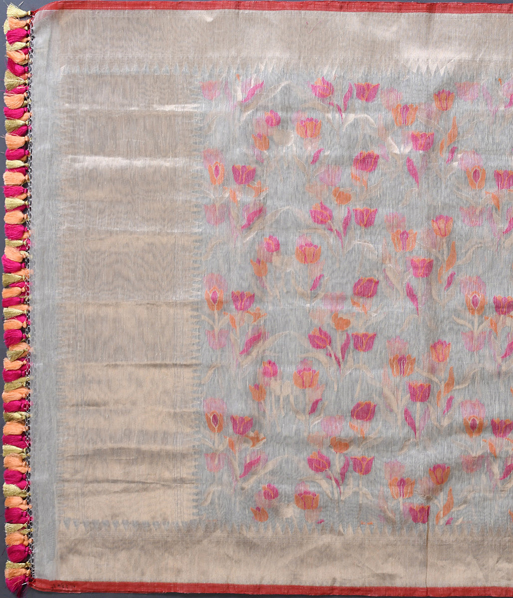 Handwoven Offwhite Linen with Silk Dupatta