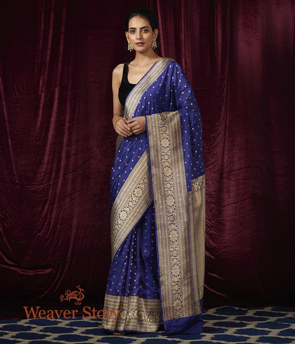 Handwoven Royal Blue Small Floral Booti Saree with Broad Border