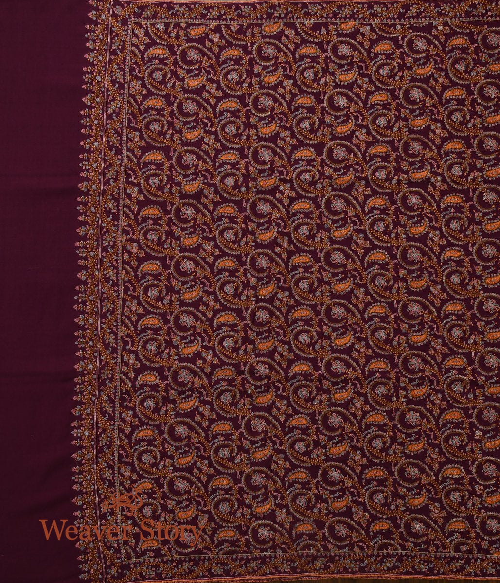 Plum Colored All Over Jamawar Pashmina Shawl