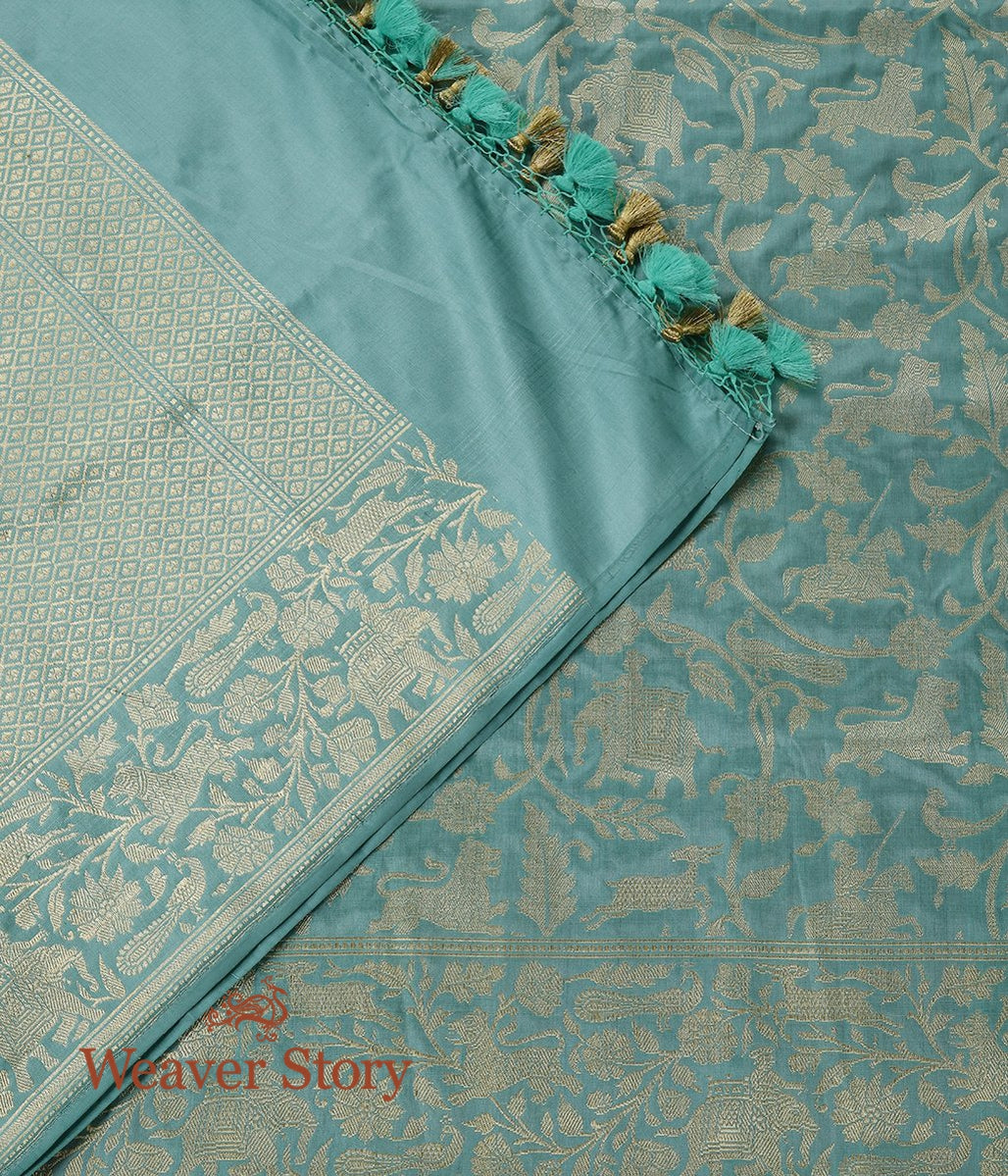 Handwoven Sea Green Shikaragah Dupatta