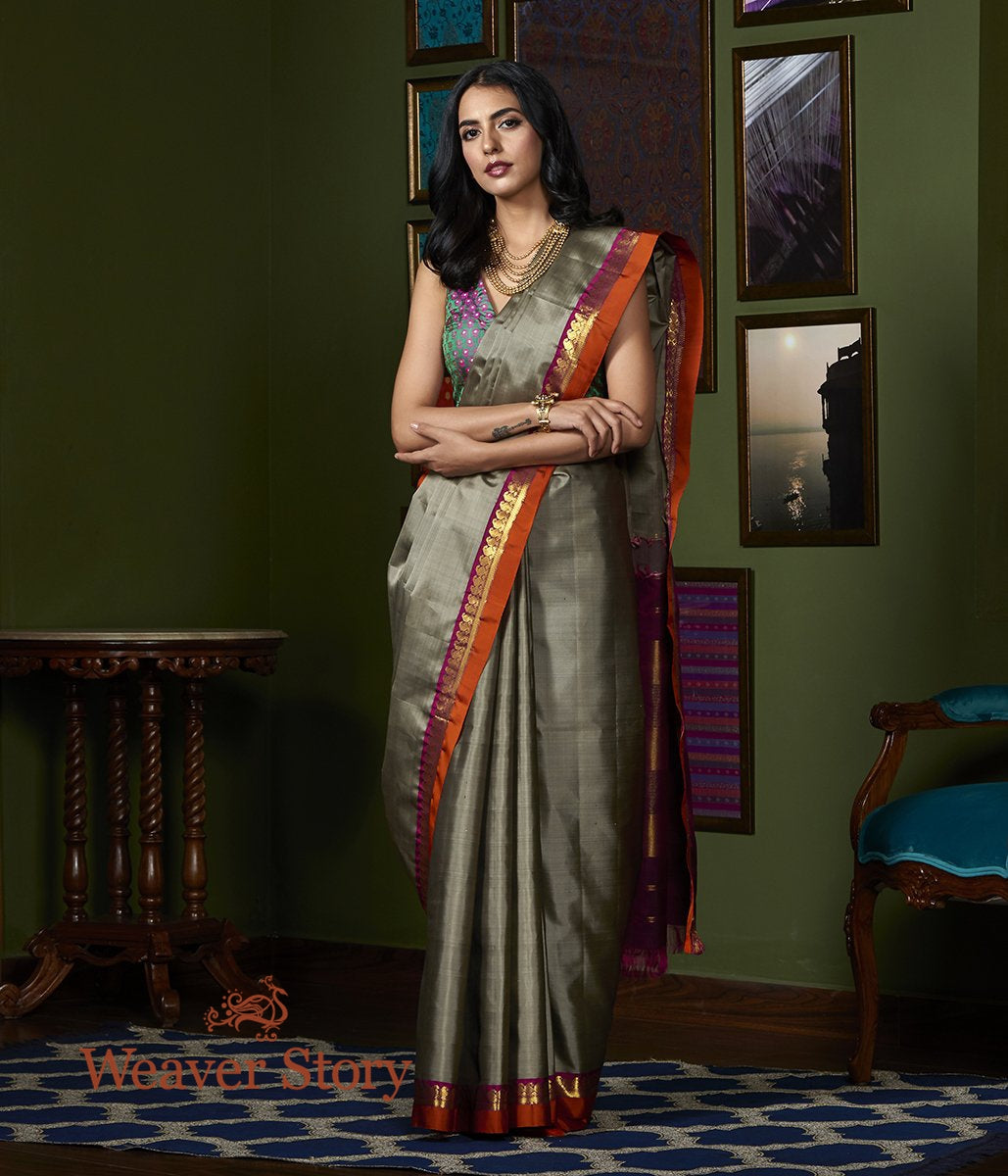 Handwoven Grey Kanjivaram Silk Saree with Orange Border