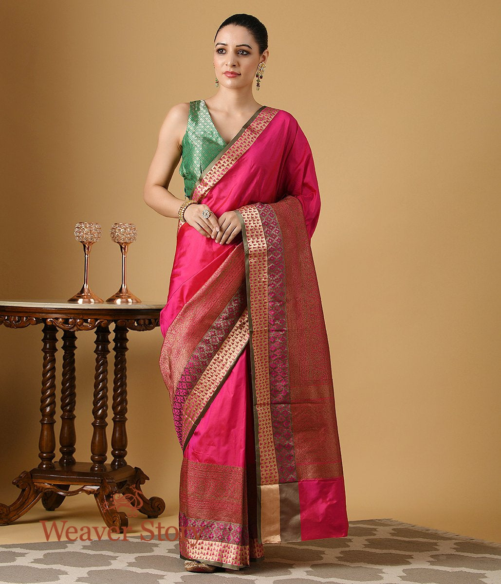 Handwoven Pink Katan Silk Banarasi Saree with Antique Zari Border