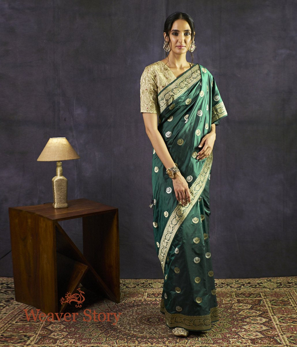 Handwoven Green Chand Boota Saree with Lion Konia