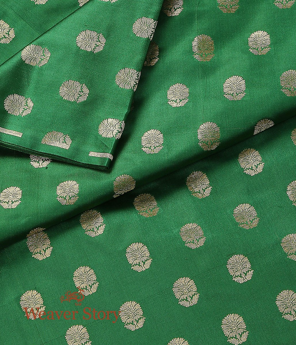 Handwoven Green Gold Zari Satin Booti Fabric