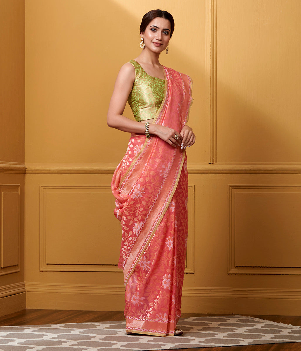 Handwoven Coral Pink Cotton Jamdani Saree