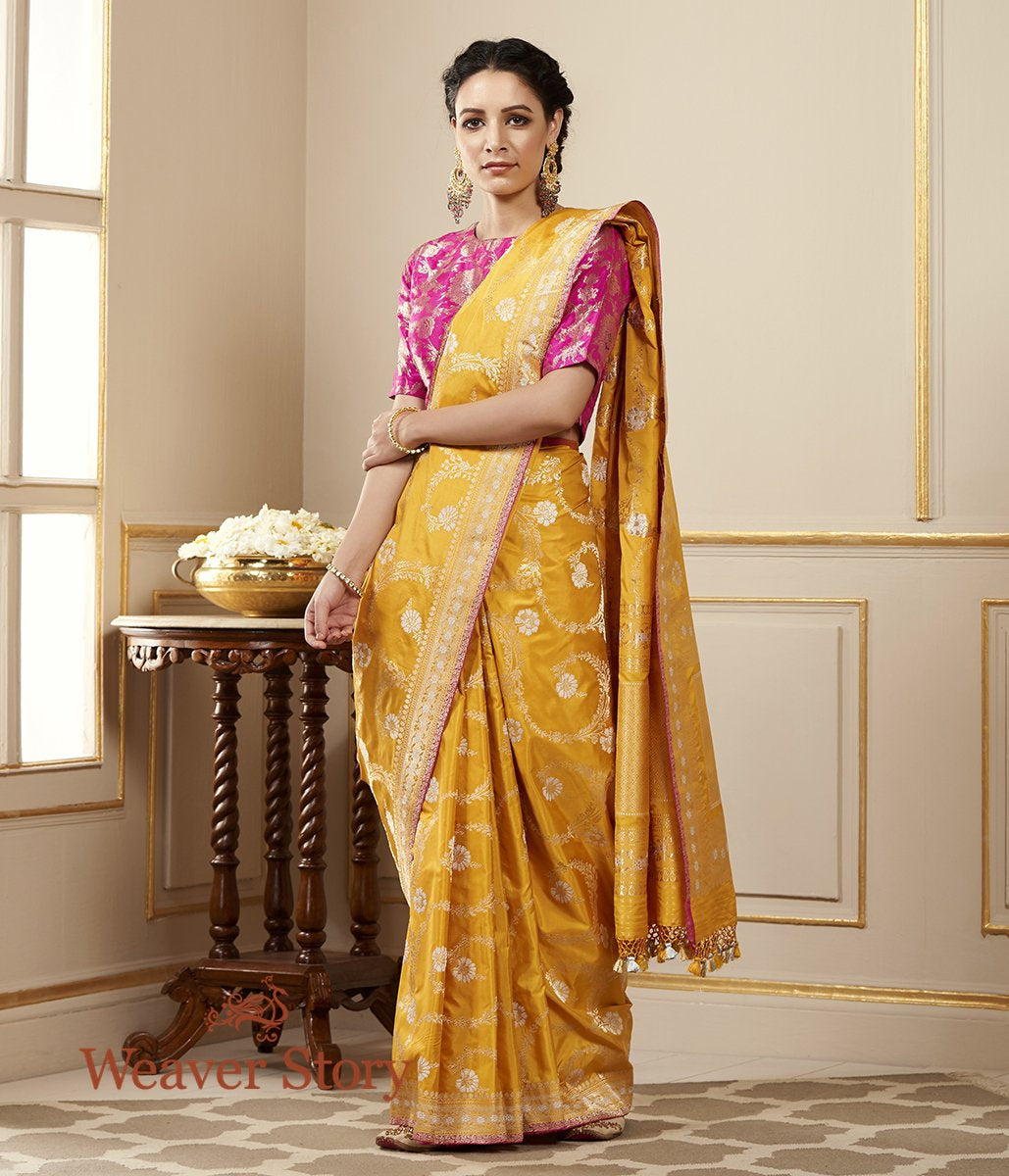 Handwoven Mango Yellow Sona Rupa Kadhwa Jangla Saree with Delicate Border