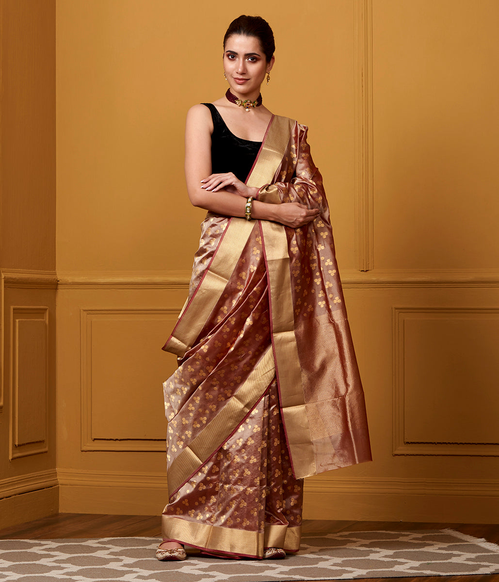 Handwoven Pink And Brown Floral Booti Jaal Saree