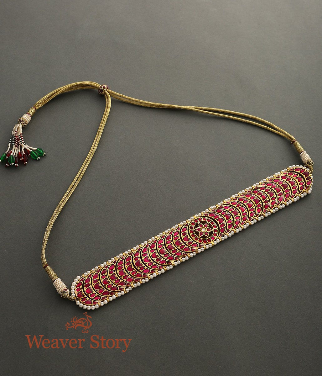 Choker with Ruby Red Crecent Shaped Motifs