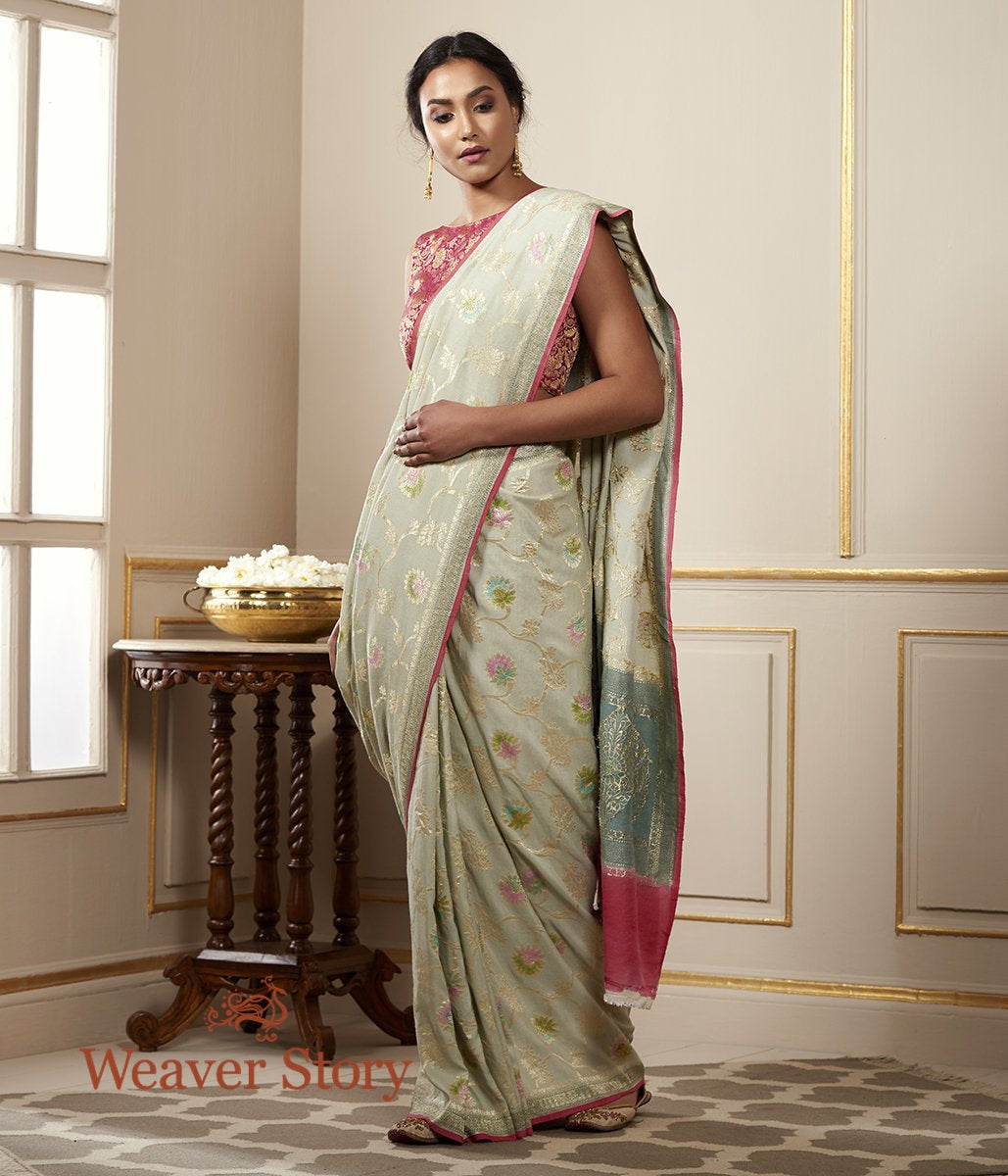Handwoven Munga Silk Banarasi Saree with Hand Brush Dye