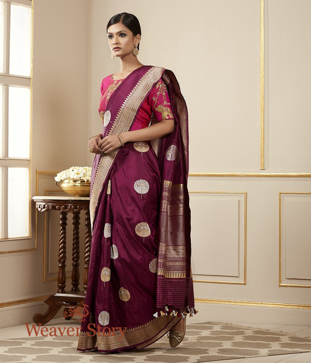 Handwoven Purple Banarasi Katan Silk Saree with Kadhwa Booti