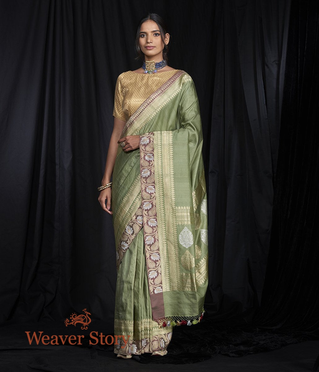 Handwoven Green Tusser Saree with Wine Kadhwa Border
