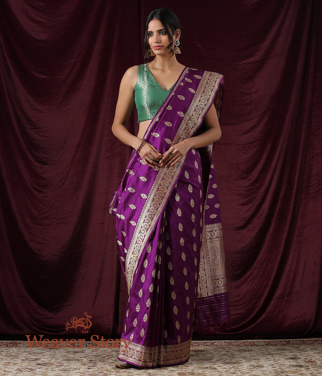 Handwoven Purple Kadhwa Booti Saree