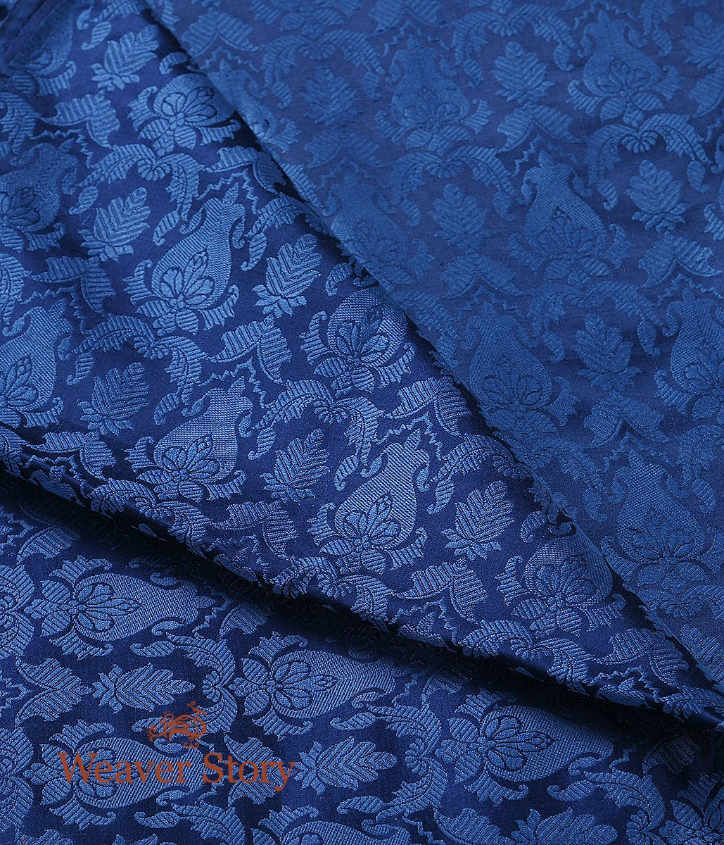 Handwoven Blue Pure Satin Kimkhab  Fabric