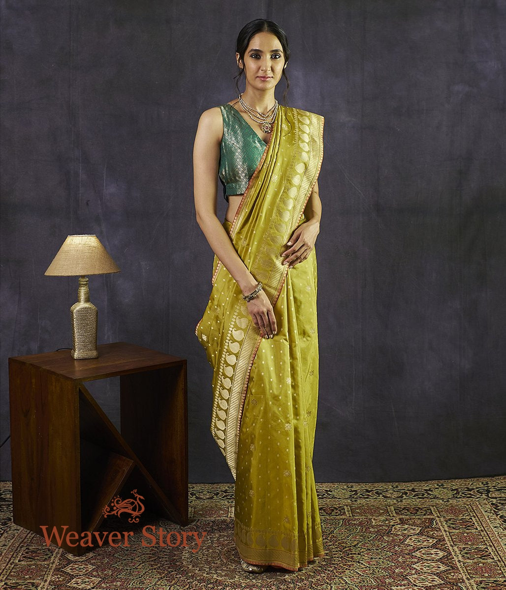Handwoven Lime Green Kadhwa Floral Boota Saree with Paisley Border