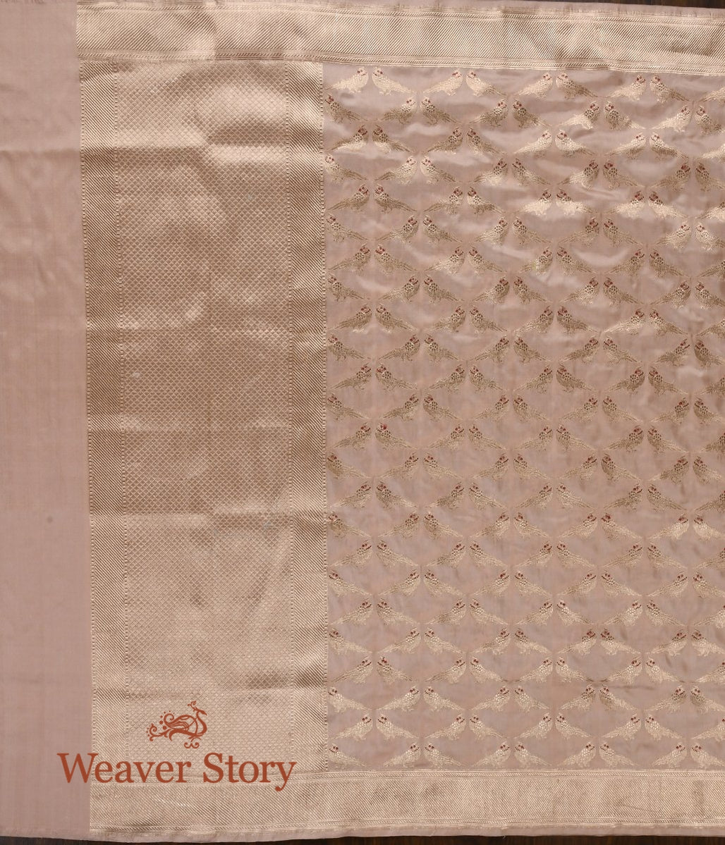 Handwoven Peach Banarasi Kadhwa Dupatta with Bird Motifs