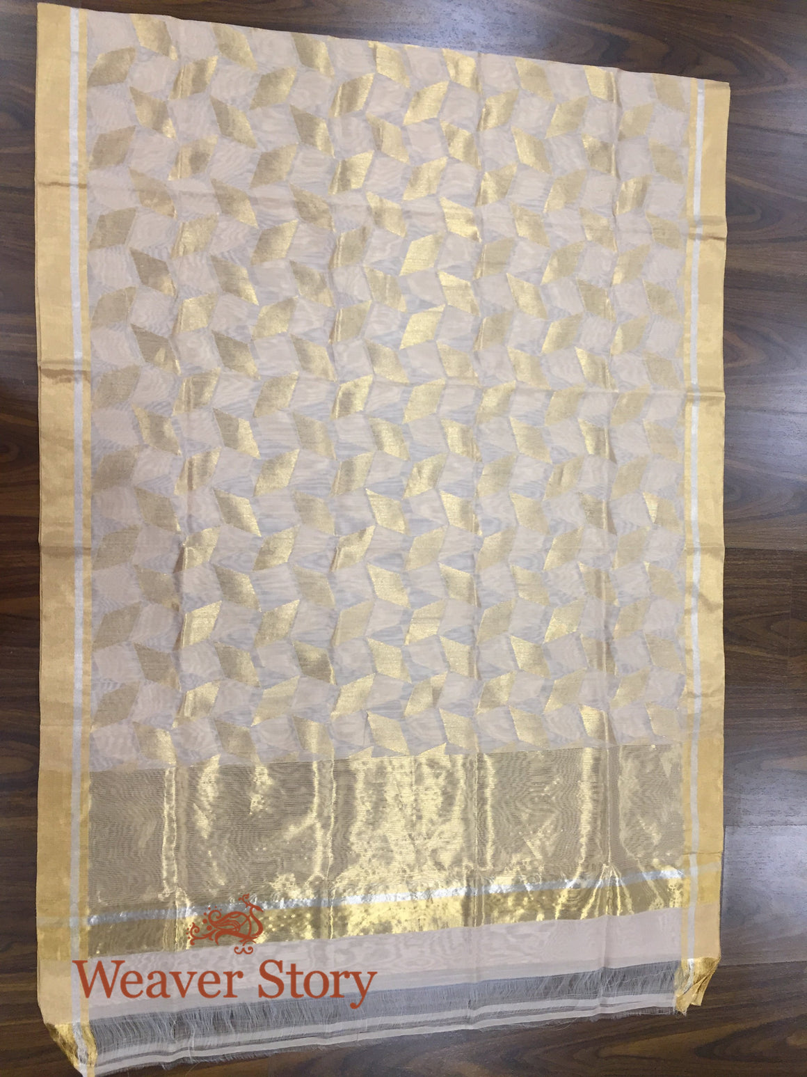 Handwoven Cotton Silk Geometric Pattern Dupatta in soft peach