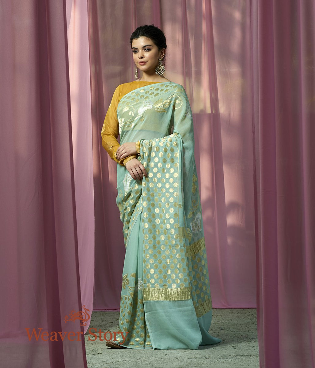 Handwoven Light Blue Sona Rupa Banarasi Georgette Saree