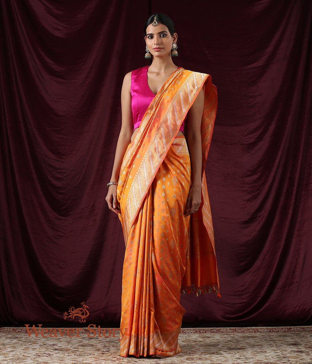 Handwoven Yellow and Pink Dual Tone Kadhwa Booti Ektara Saree