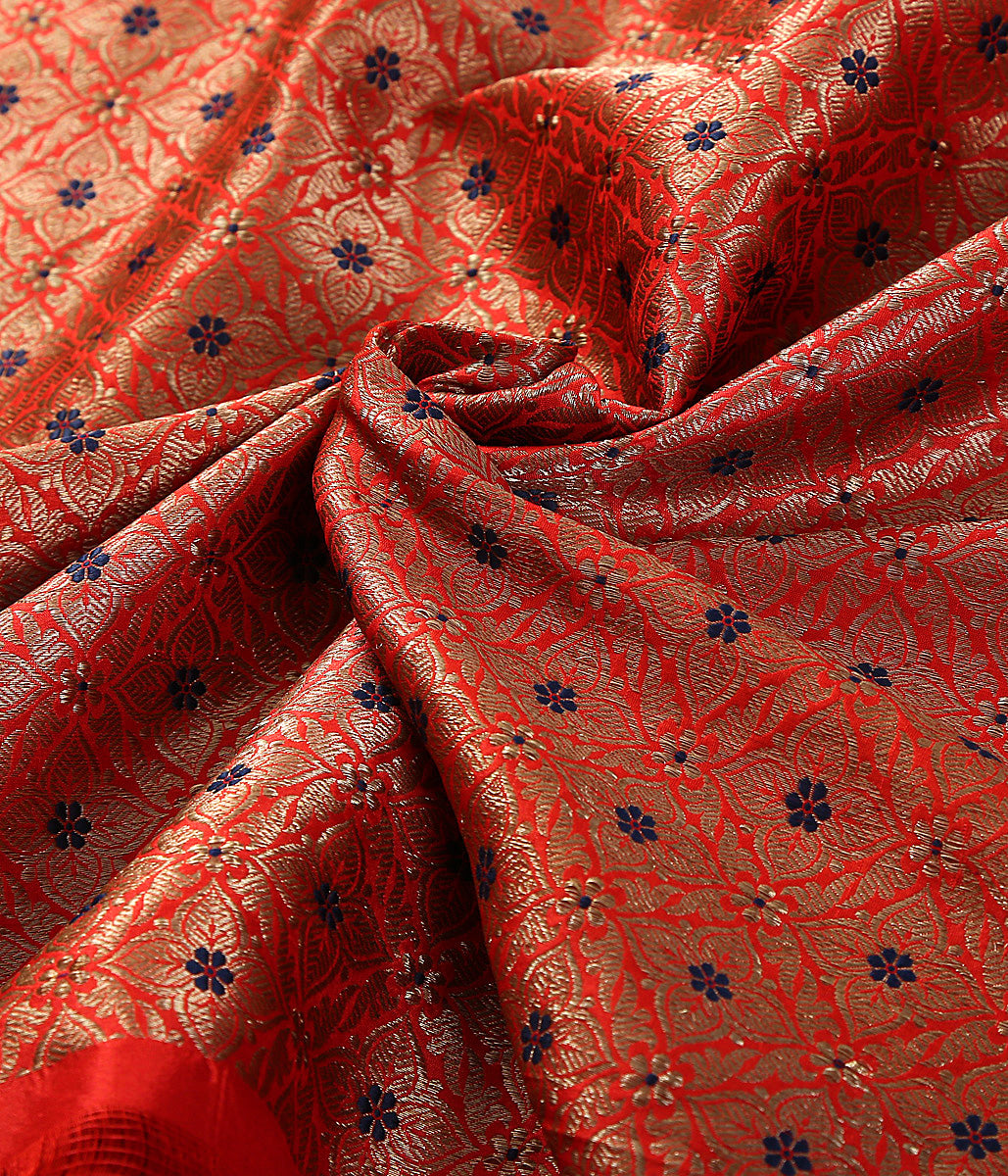 Handwoven banarasi brocade fabric in red with meenakari