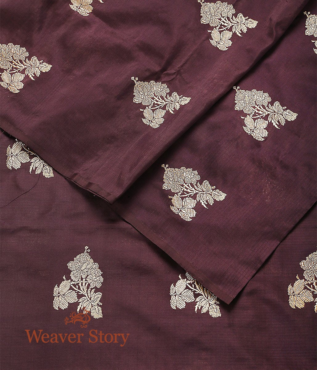 Handwoven Chocolate Brown Kadhwa Boota Fabric