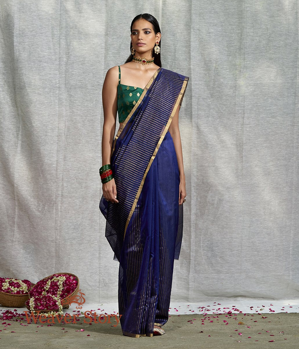 Handwoven Blue Merecrised Cotton Silk Saree with Zari Stripes