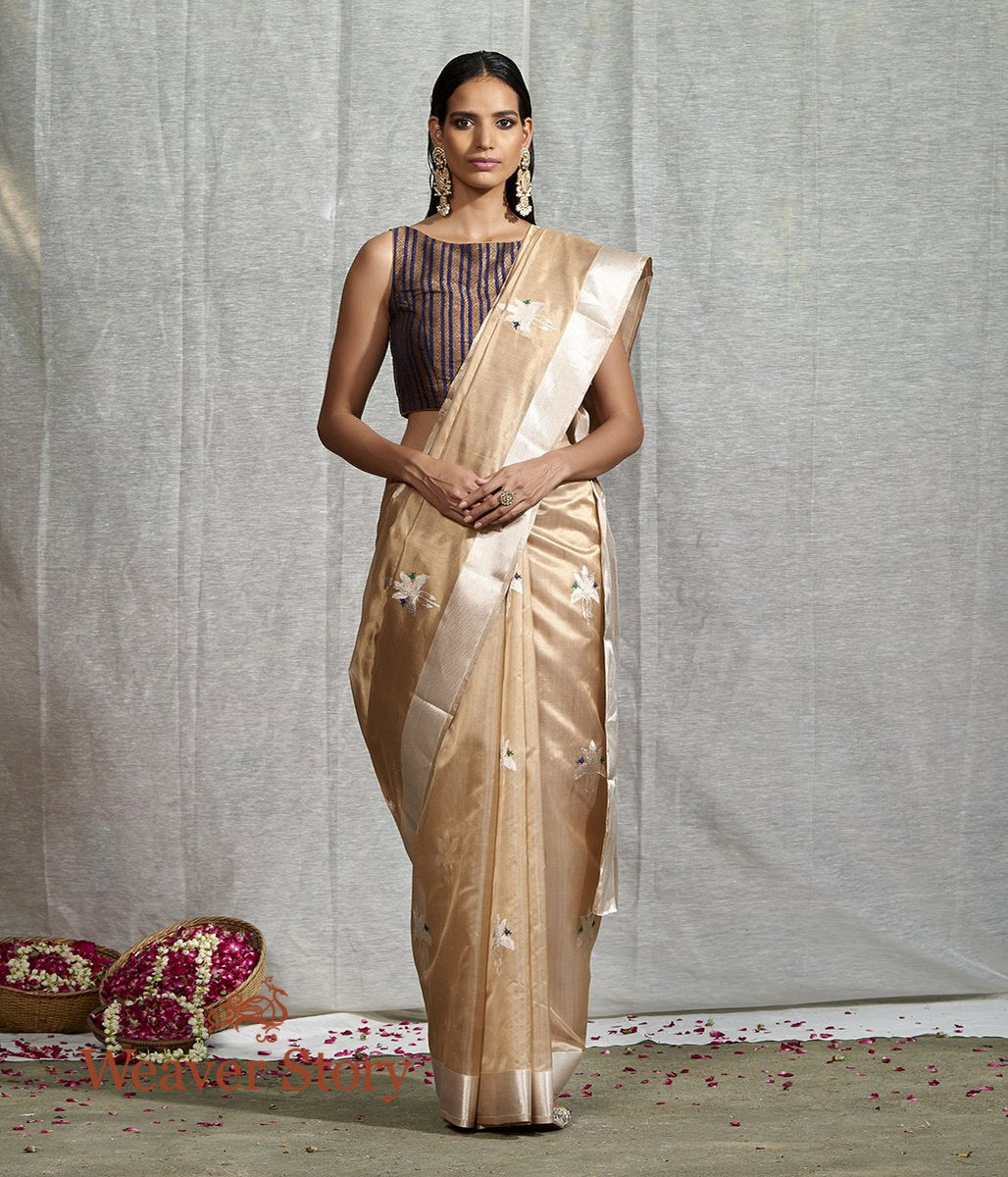 Handwoven Beige Silk Chanderi Saree with Birds