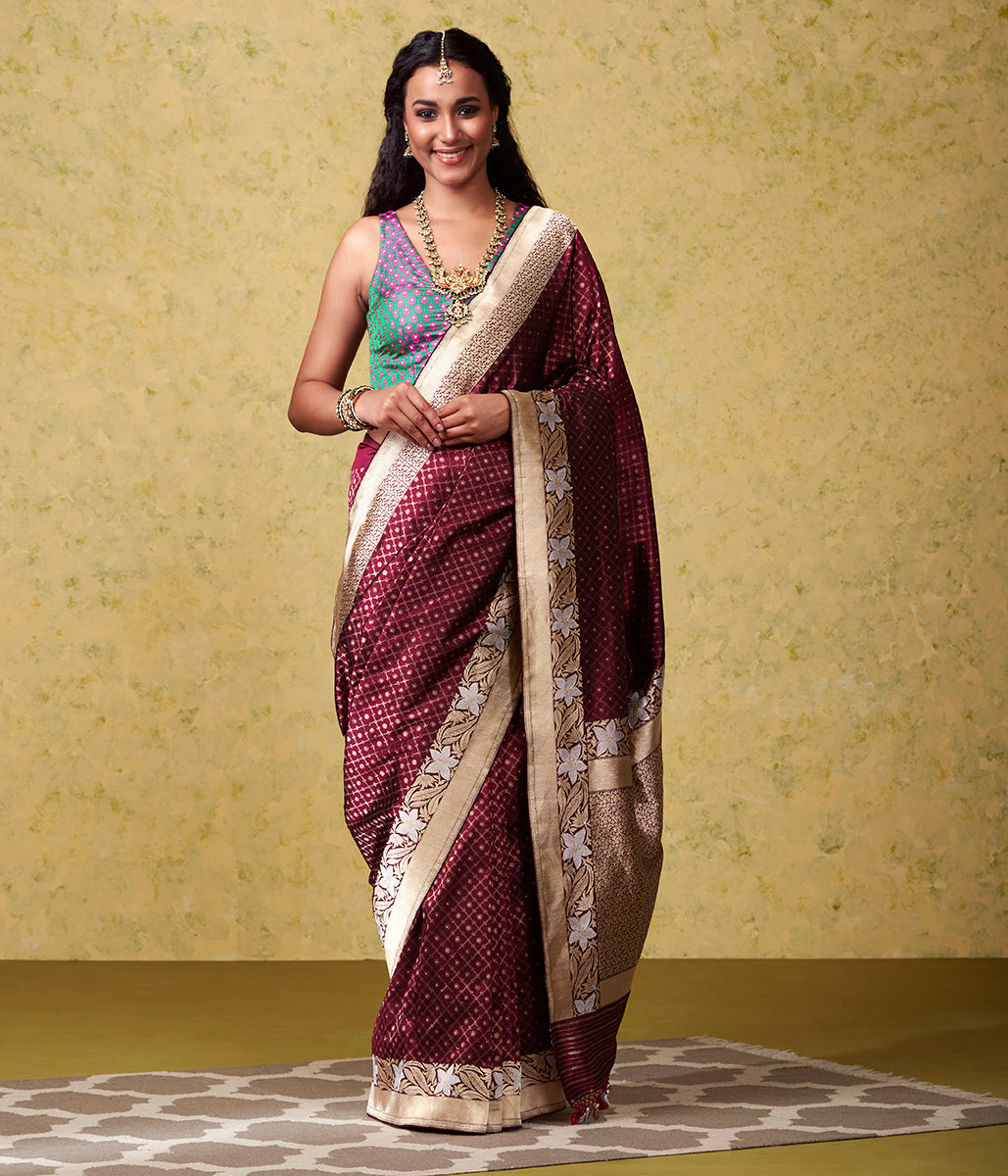Handwoven Wine Cutwork Nilambari Saree with Kadhwa Border