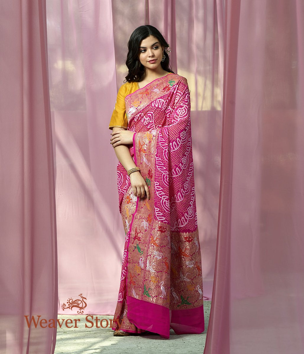 Handwoven Pink Bandhej Saree with Shikargah Border