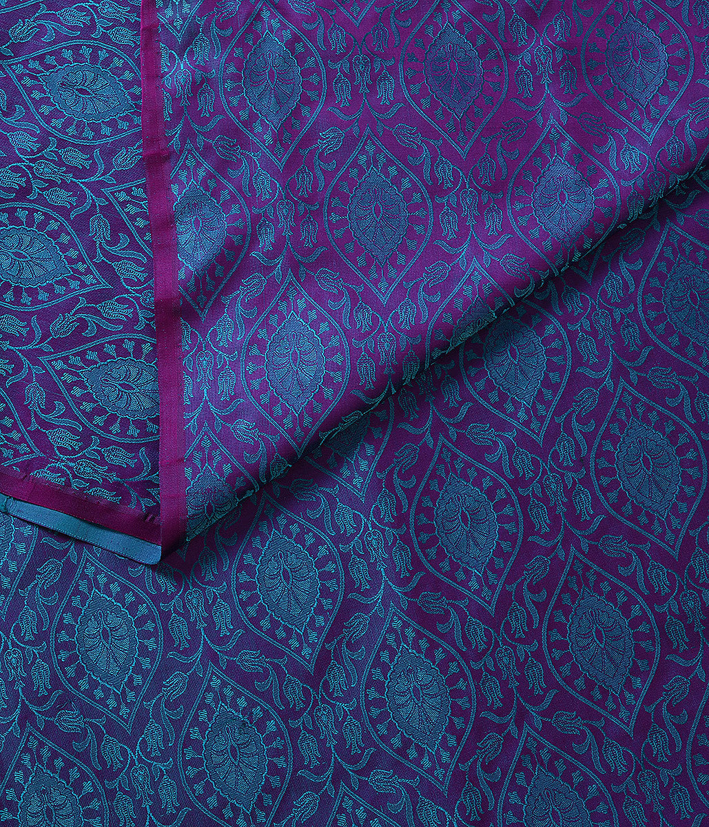 Handwoven Purple and Turquoise Tanchoi Fabric