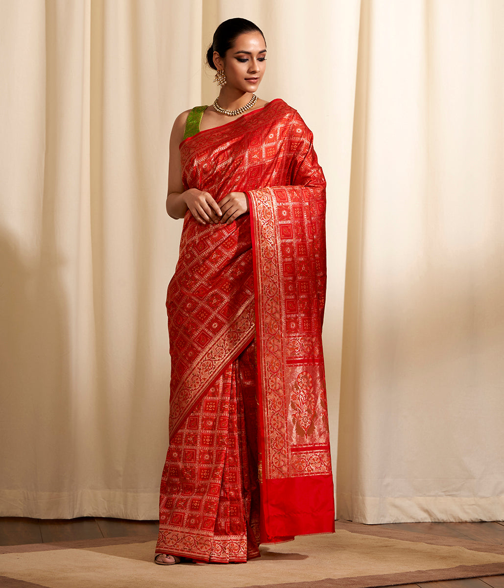 Handwoven Red Katan Silk Gharchola Saree