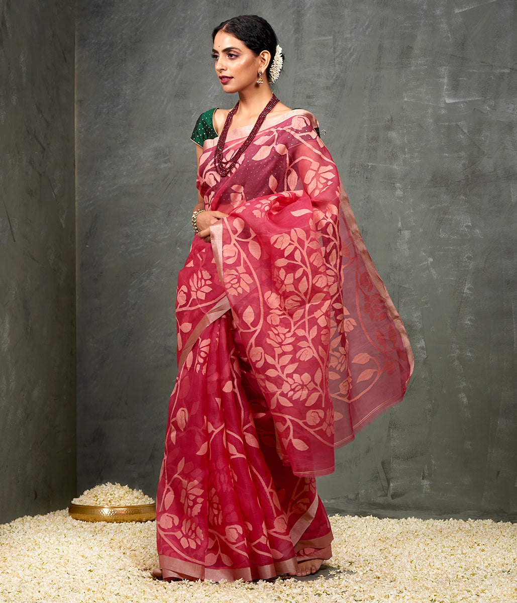 Handwoven Strawberry Pink Muslin Jamdani Saree with all over Jaal