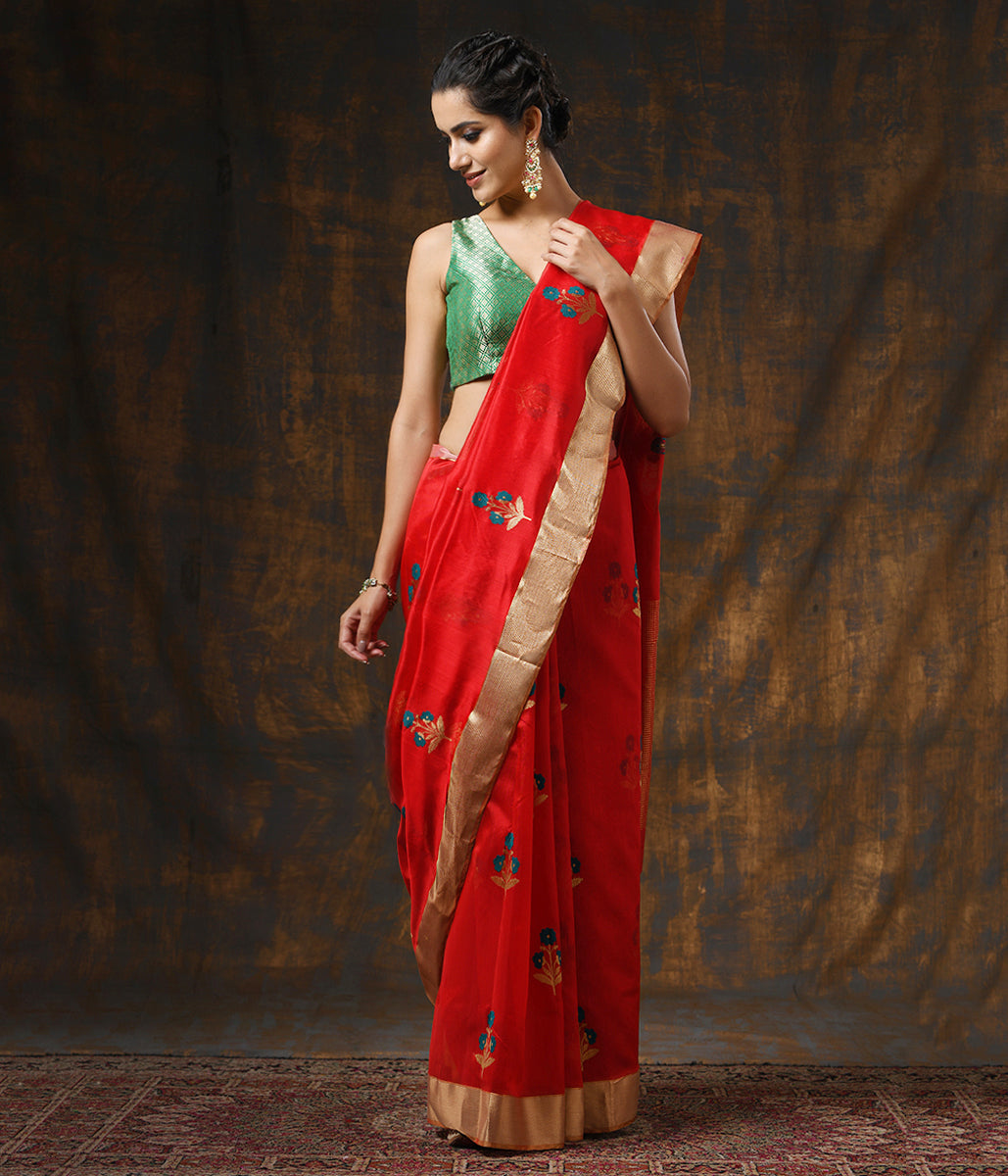 Handwoven Red Chanderi Silk Saree with Floral Motifs and Heavy Gold Zari Border