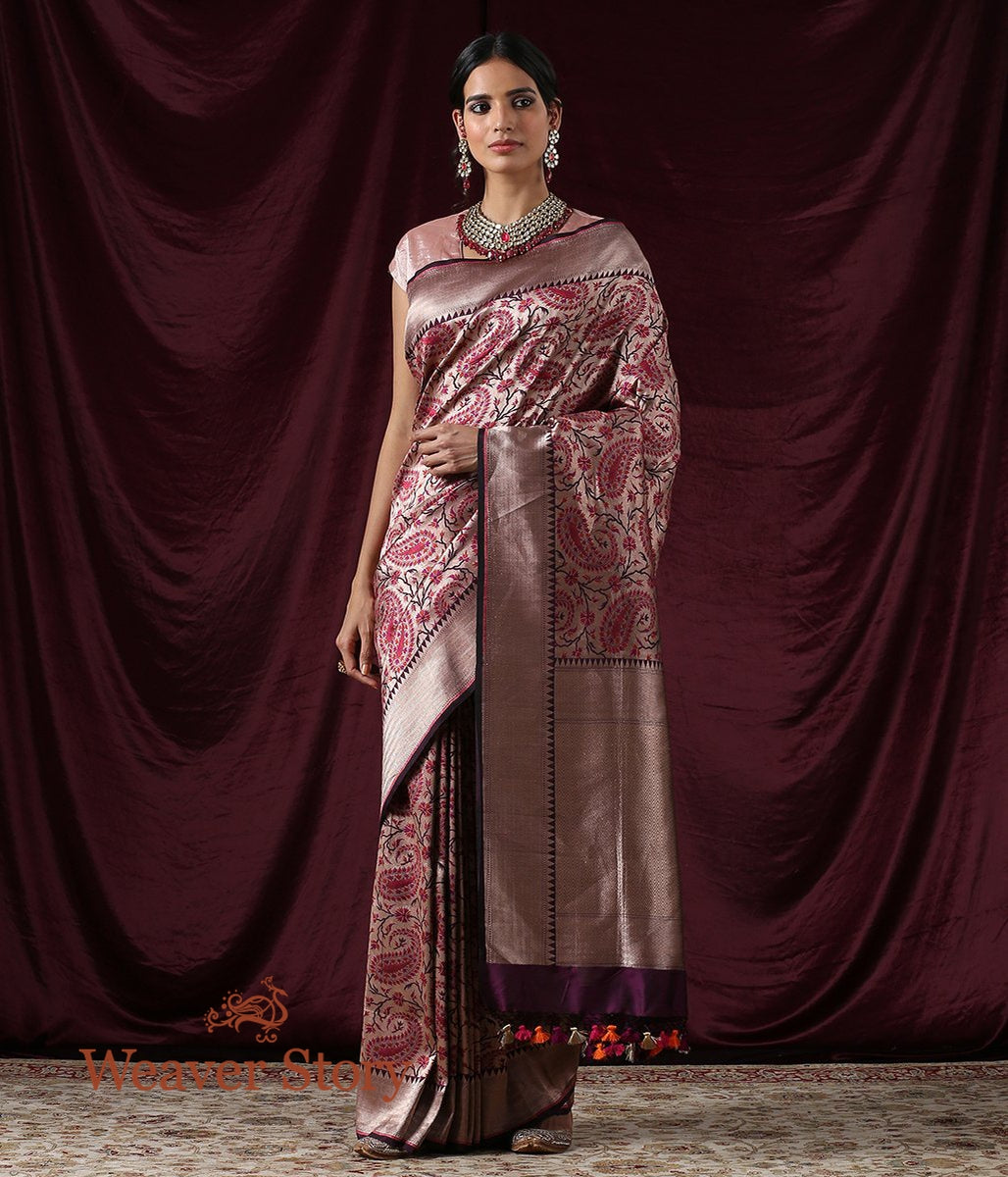 Handwoven Wine Antique Zari Kimkhab Saree