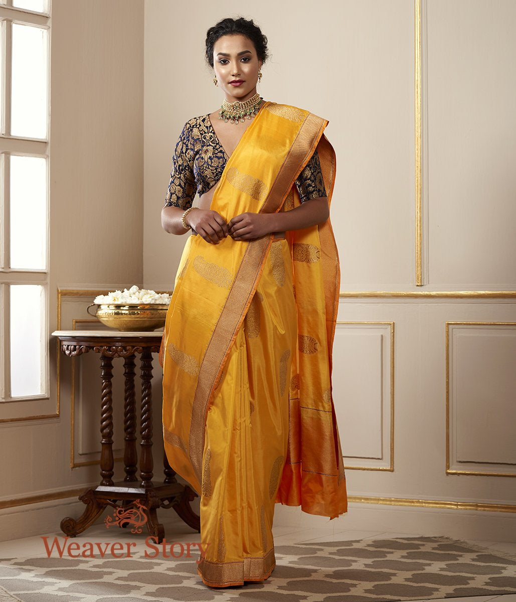 Handwoven Mango Yellow Banarasi with Kairi Motifs