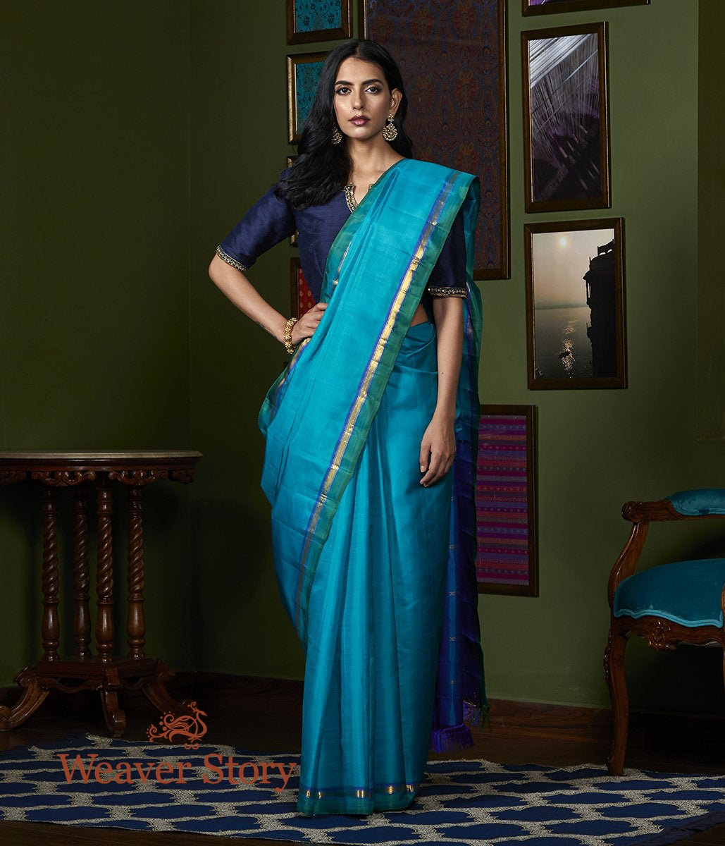 Handwoven Frozi Blue Kanjivaram Silk Saree with Green Border